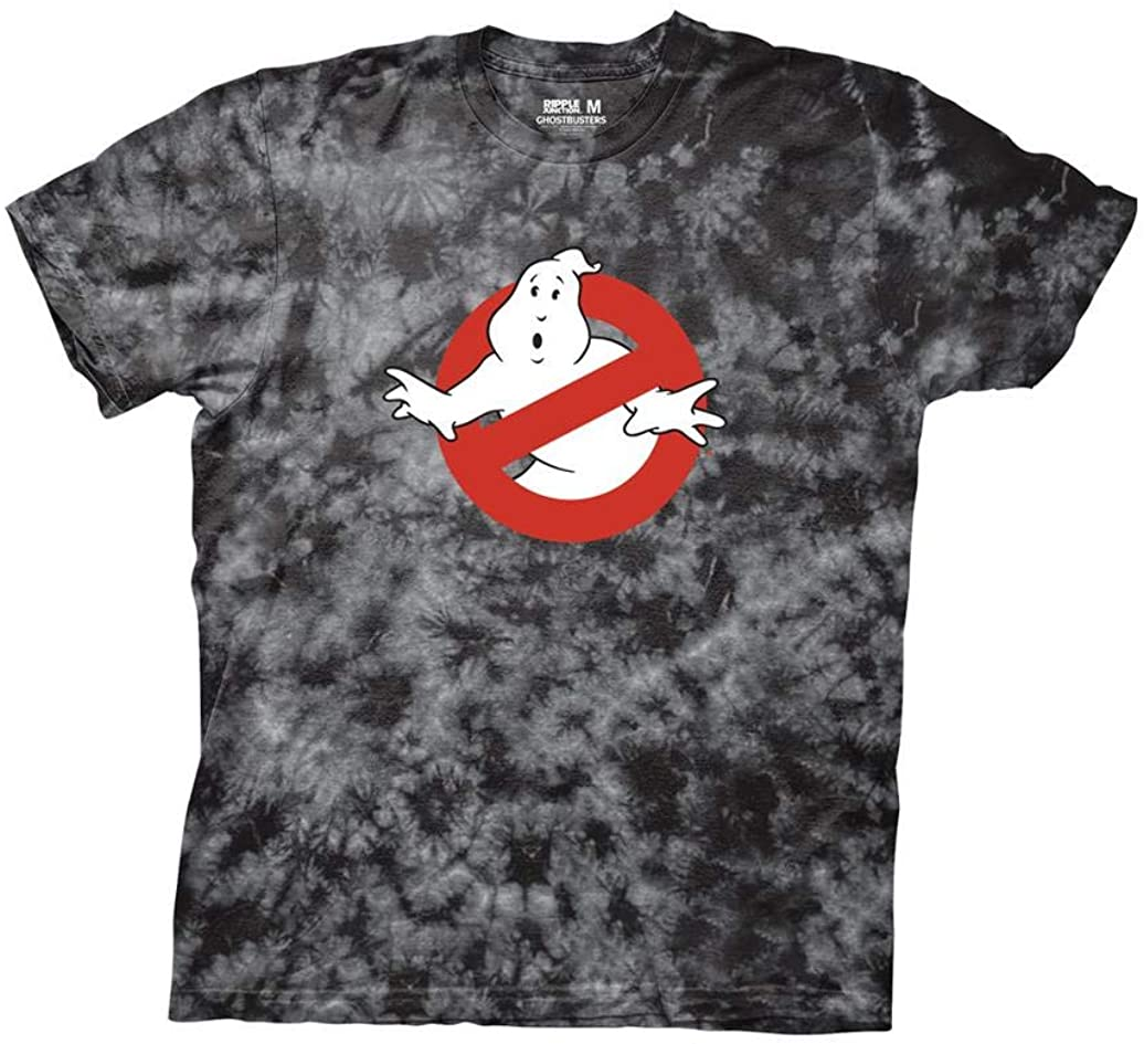 Ripple Junction Ghostbusters Adult Unisex No Ghost Light Weight 100% Cotton Tie Dye Crew T-Shirt