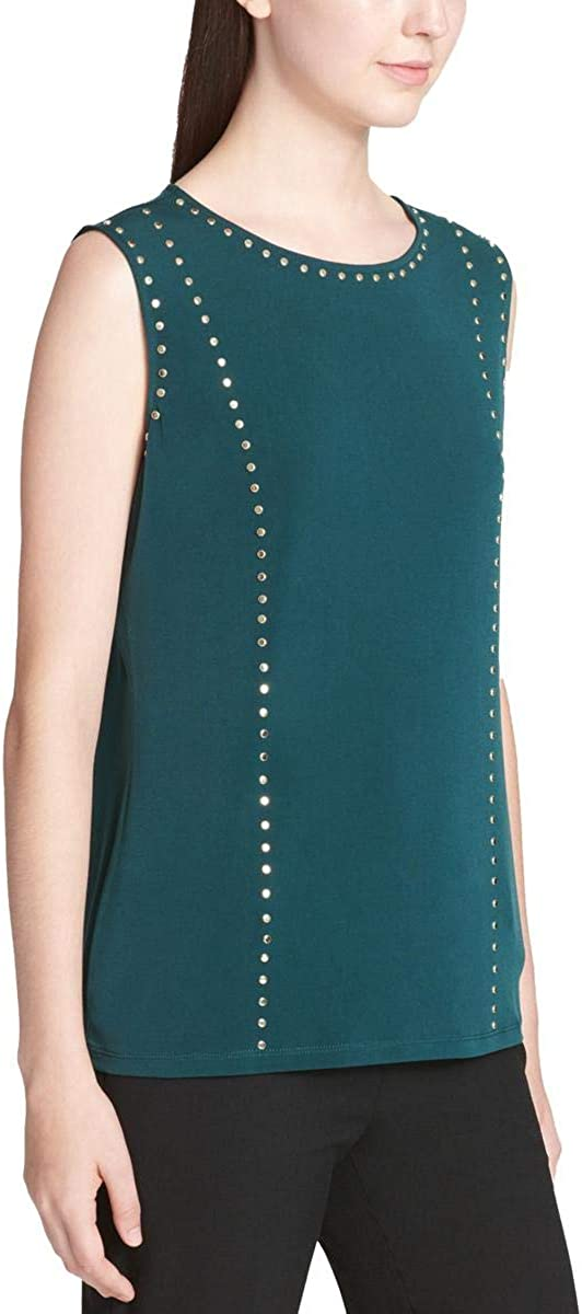 Calvin Klein Womens Studded Sleeveless Blouse Top