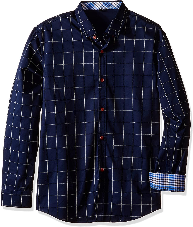 QZUnique Men's Big & Tall Plaid Pattern Slim Fit Long Sleeve Cotton Dress Shirt Navy 5XL