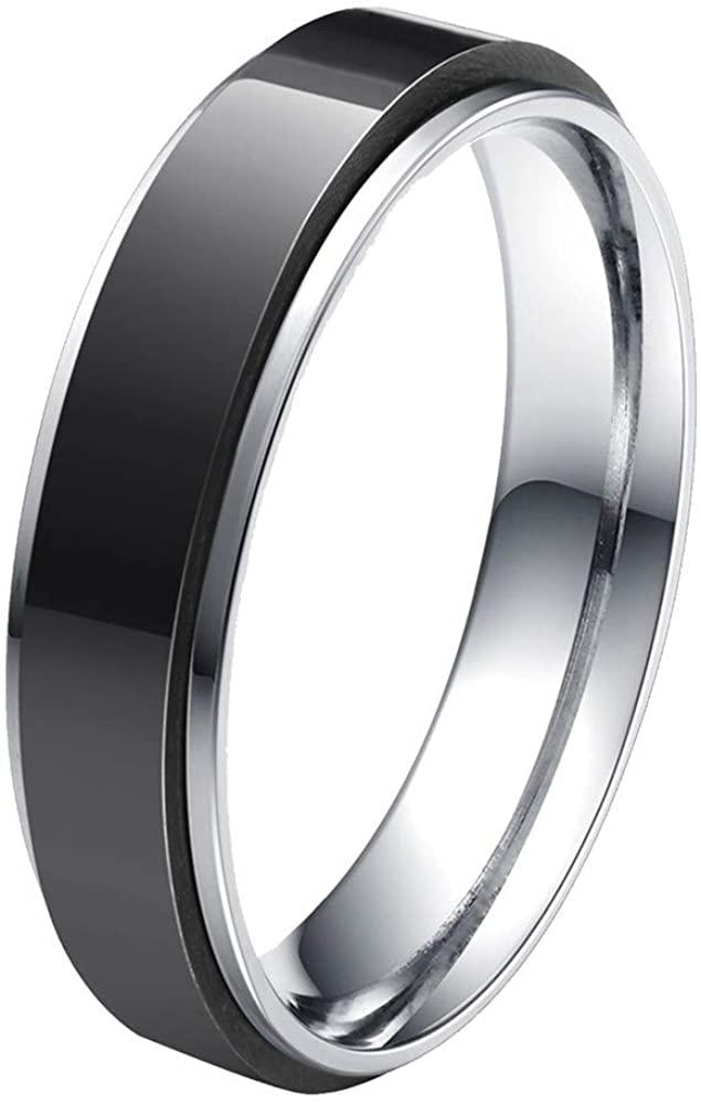 HIJONES Unisex Stainless Steel LGBT Gay Lesbian Pride Rainbow/Gold/Silver/Black Spinner Wedding Band Ring