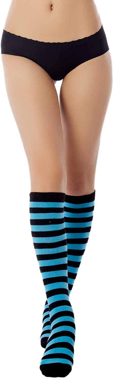 iB-iP Womens Sports Football Style Zebra Stripe Long Stocking Knee High Socks