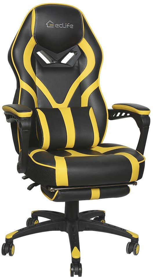 ONG Gaming Chair Ergonomic Backrest Office Chair Desk Chair with Lumbar Pillow and Headrest (ONG-OF-D02, Yellow)
