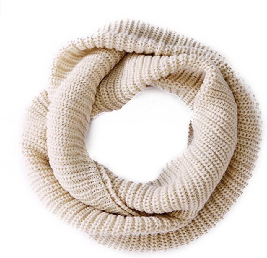 erioctry Women's Winter Infinity Scarf Knitted Thicken Neckerchief Neck Long Scarf Shawl Soft Warm Scarves (Beige)