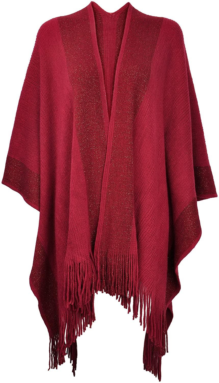 ZLYC Women's Shawl Golden Trim Knit Blanket Wrap Fringe Poncho Coat Cardigan