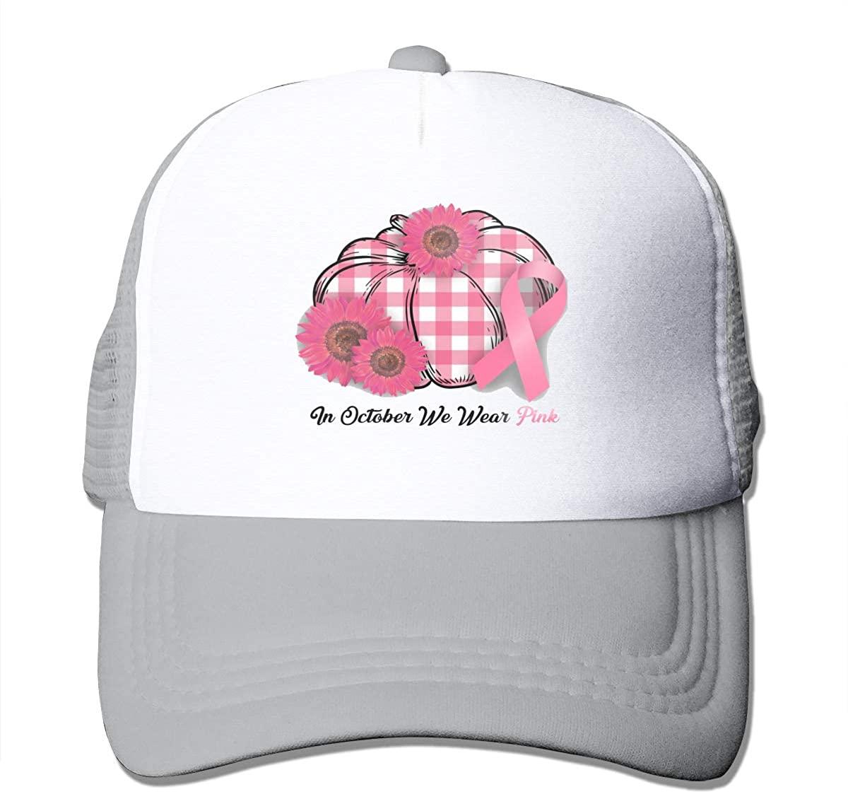 Trucker Hat 2 Pcs in October We Wear Pink Pumpkin Breast Cancer Plaid Black