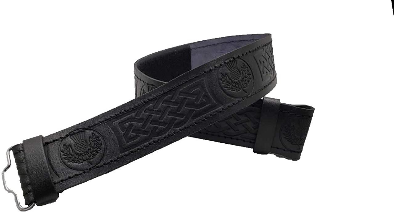 AAR Kilt Belt for Men Leather Black Thistle Embossed Design Scottish Highland S-2XL
