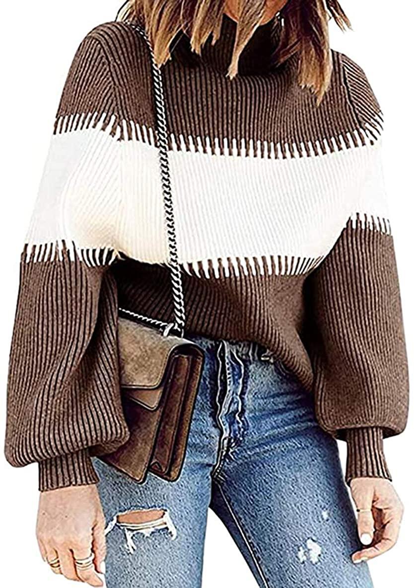 PRETTYGARDEN Women's Fashion Striped Color Block Knit Sweater Long Sleeve Turtleneck Loose Jumper Pullover Tops