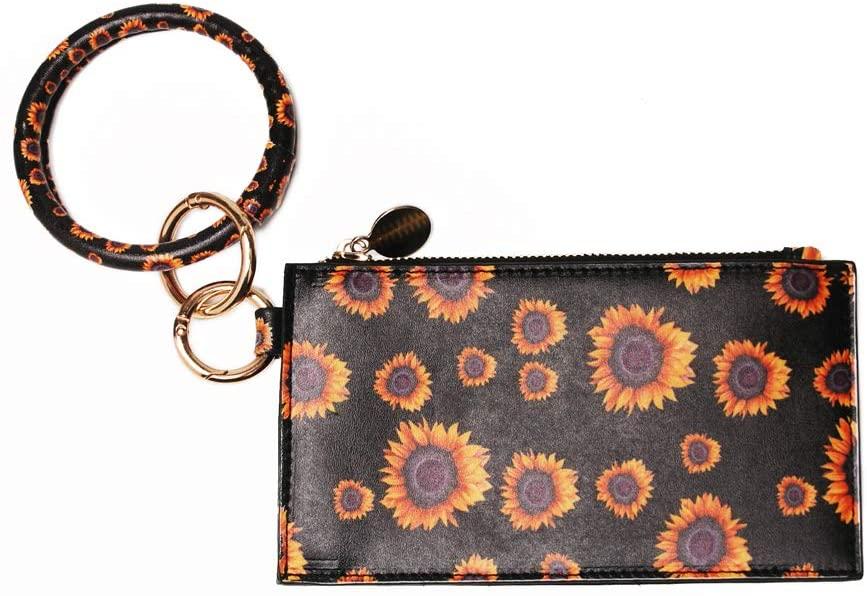 PU Wallet Bracelets Key Ring Slim Cash Smart Phone Wallet Zipper Key Bag Double-sided Printing Smallsized Clutch for Girl (Sunflower)