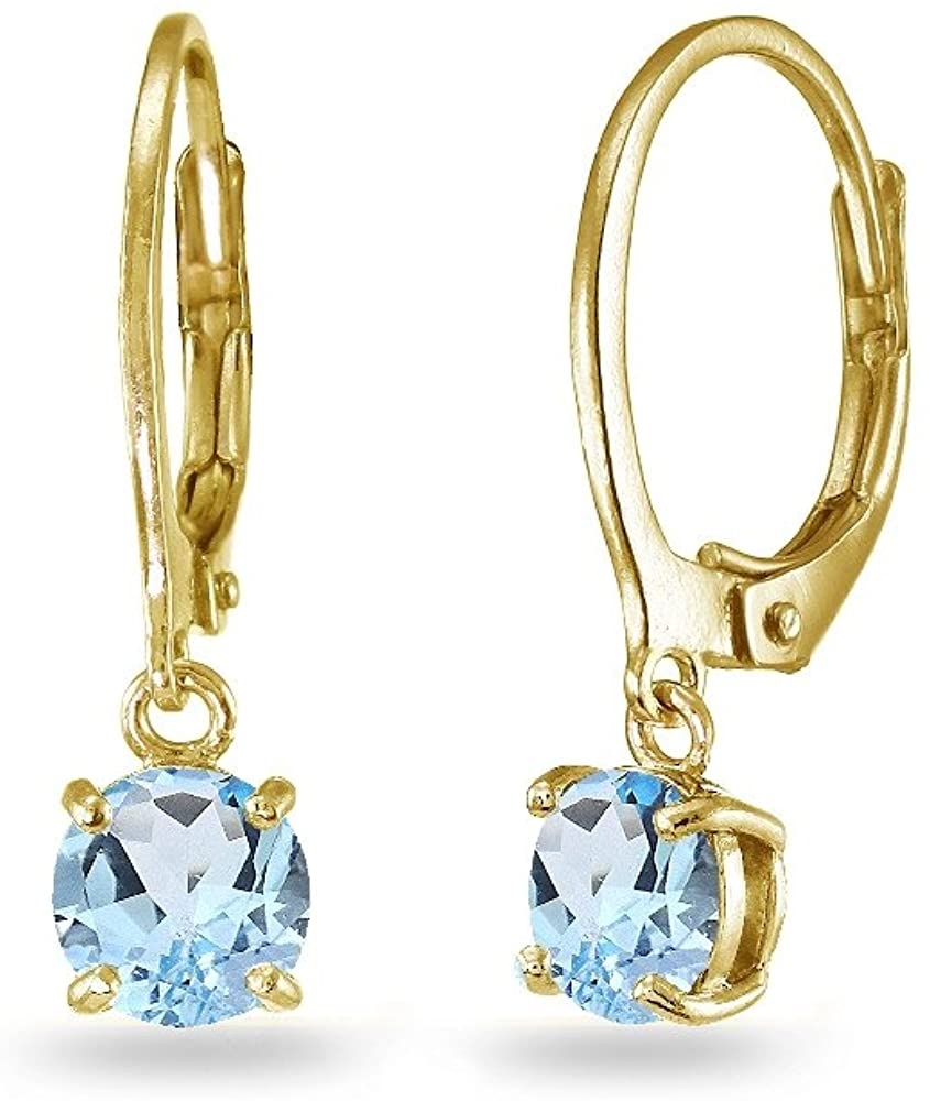 LOVVE Yellow Gold Flashed Sterling Silver 6mm Round Dangle Leverback Earrings, Choice of Genuine, Simulated or Created Birthstone Colors