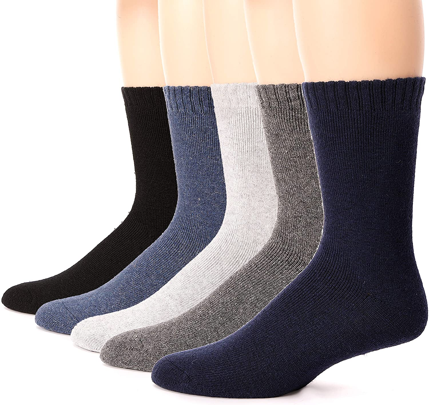 Mens Wool Fuzzy Heavy Thermal Thick Warm Winter Socks 5 Pairs
