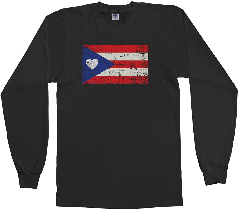 Threadrock Kids Puerto Rico Flag with Heart Youth Long Sleeve T-Shirt
