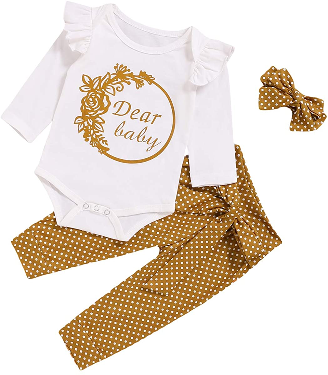 NCONCO Baby Clothes Outfits Set Romper + Polka Dotted Pants + Headband for 0-18M Baby Girls