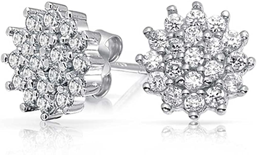 Flower Crown Cubic Zirconia Pave CZ Cluster Stud Earrings For Women 925 Sterling Silver 10MM