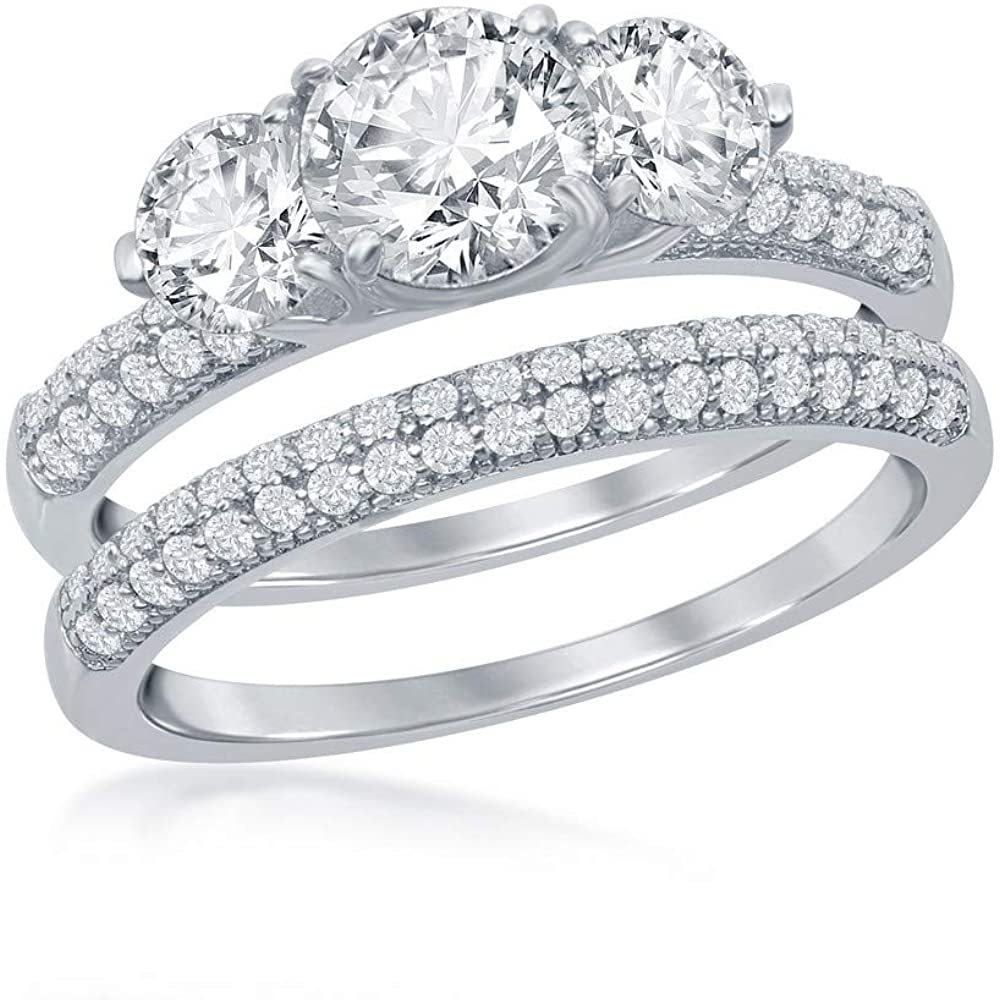 925 Sterling Silver Rhodium Plated High Polished Three-Stone with Micro Pave Cubic Zirconia Bridal Engagement Band 2pcs Ring Set