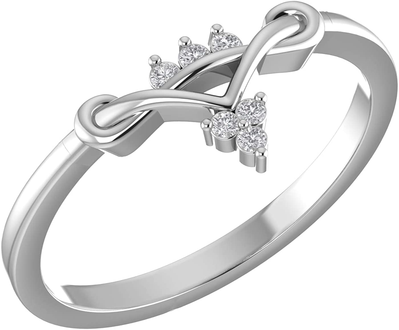 Amayra Diamond Ring 0.05 CTW-6 Natural Round Stones Set in 925 Sterling Silver- Brilliant Cut- Perfect for Bridal Promise Ring,Anniversary,Daily wear or Parties (Color-GH Clarity-VS-SI)