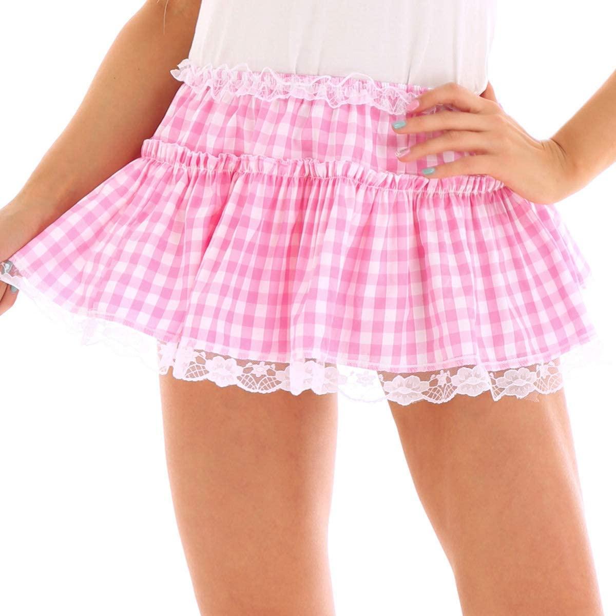 Yartina Women's Gingham Lace Hem A-line Pleated Mini Skirt Sissy Adult Baby Dress Nightwear