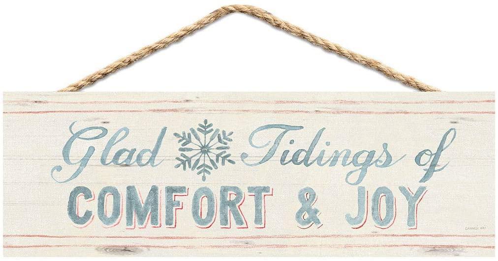 P. Graham Dunn Glad Tidings of Comfort and Joy White 10 x 3.3 Pine Wood Christmas String Sign