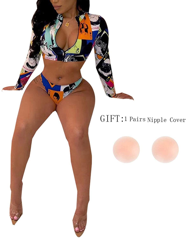 SIAEAMRG Rash Guard Long Sleeve Swimsuit for Women, 2 Piece High Waisted Bikini Bathing Suits, 3D Print Tankini Swimwear