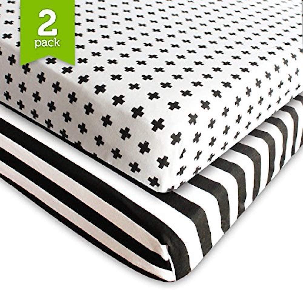 Ziggy Baby Crib Sheet Fitted Jersey Cotton (Black, White, Stripes, Cross)
