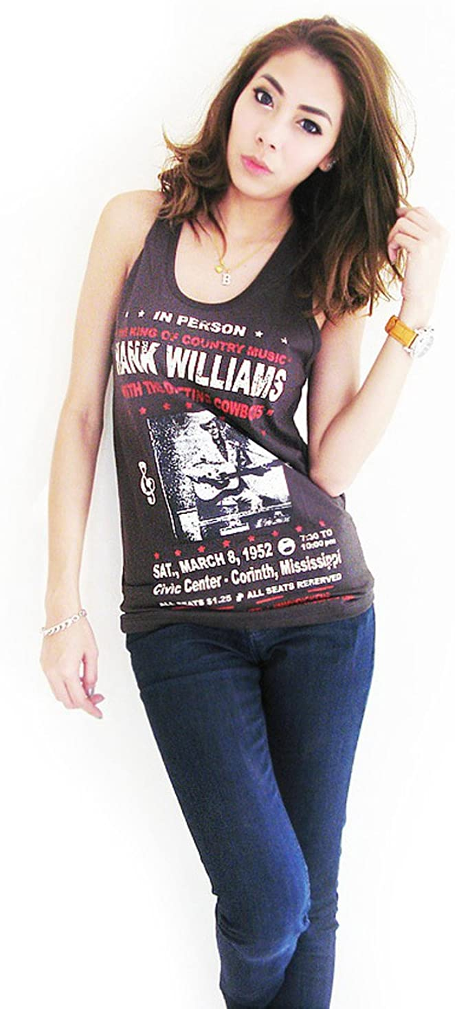 BUNNY BRAND Women's Hank Williams The King of Country Music T-Shirt Tank Top