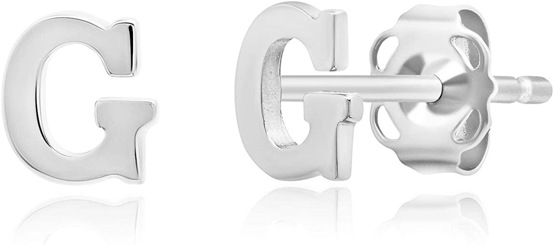 Genuine 14K White Gold Letter Initial Stud Earrings (5mm)