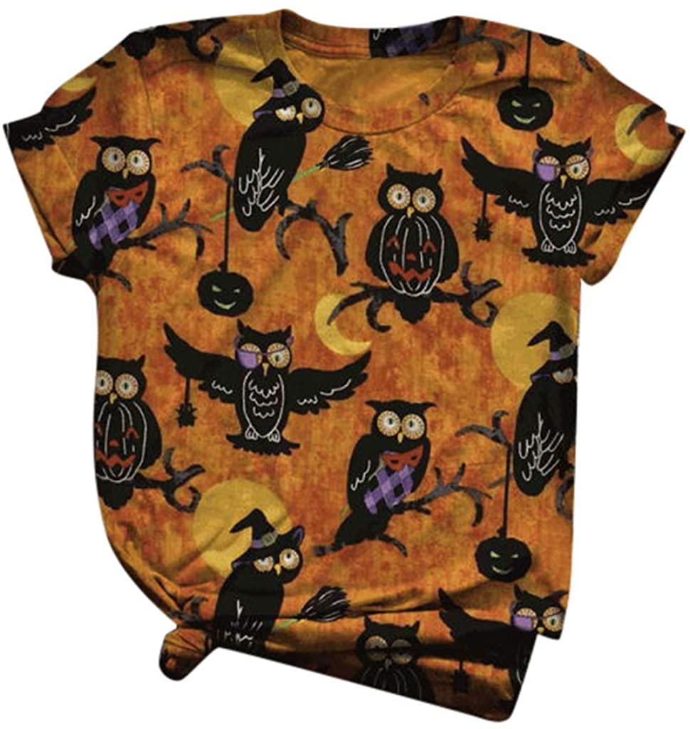 Halloween Shirts for Women, Women's Halloween Print Lantern Ghost Short Sleeve Casual O-Neck Top T-Shirt
