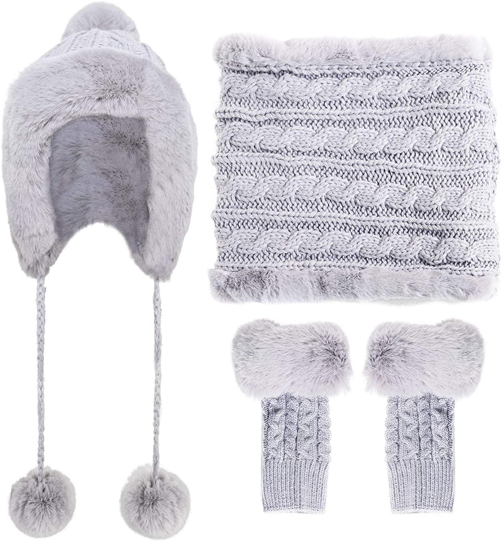 Lovful Women Earflap Beanie Hat Fleece Lined Winter Snow Ski Hat Set