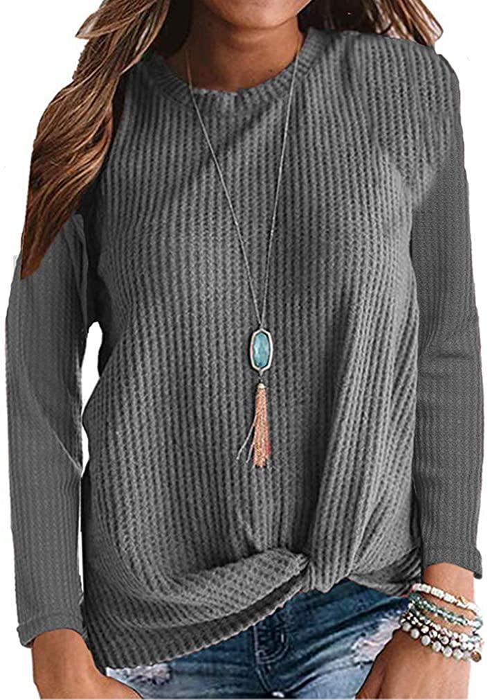 kigod Womens Casual Long Sleeve Knot Waffle Knit Tunic Blouse Cute Twist Shirts Tops