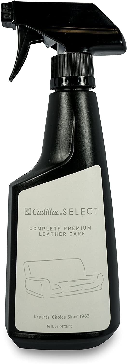 Cadillac Select Leather Furniture Cleaner and Conditioner for Couch, Car Auto Interior Seats, Bags, Jackets, Large Leather Surfaces – Complete Care Spray