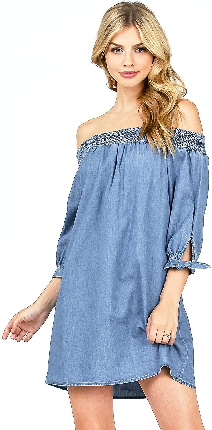 Blashe Women's Juniors Off Shoulder Chambray Dress