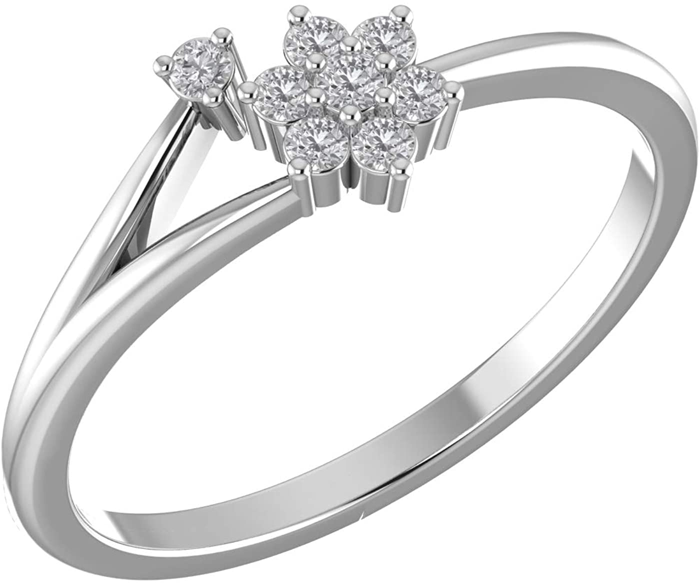 Amayra Diamond Ring 0.12 CTW-8 Natural Round Stones Set in 925 Sterling Silver- Brilliant Cut- Perfect for Bridal Promise Ring,Anniversary,Daily wear or Parties (Color-GH Clarity-VS-SI)