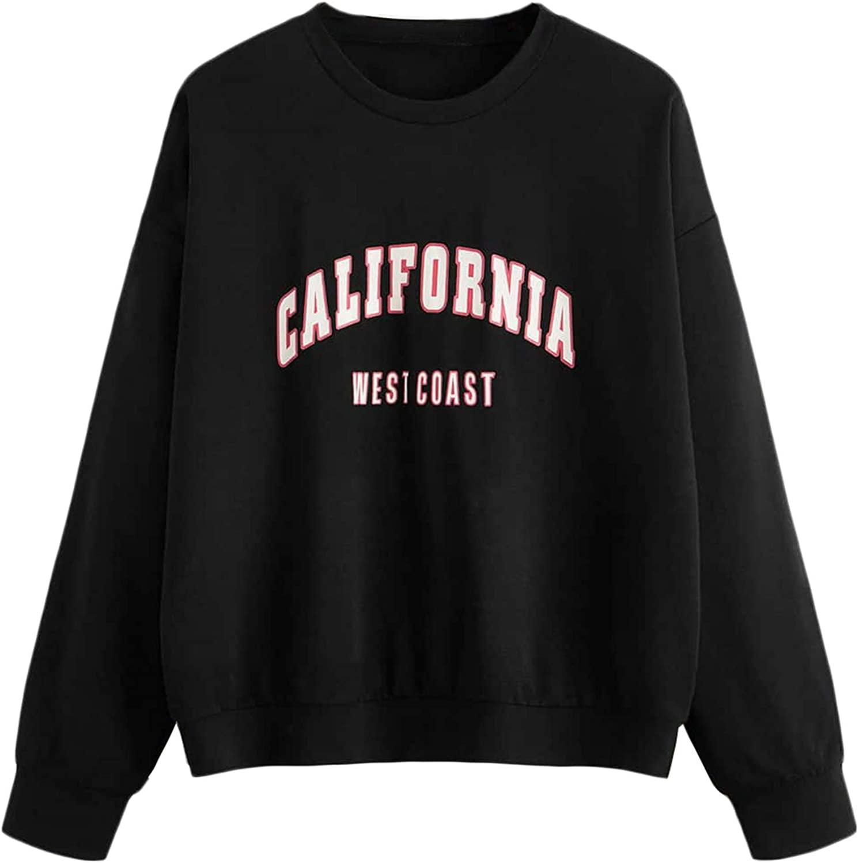 Romwe Women's Casual Letter Print Long Sleeve Loose Sweatshirt Pullover