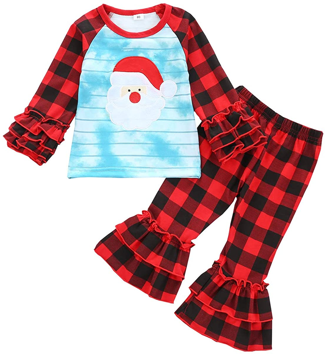 Toddler Baby Girl Christmas Outfits Long Sleeve Santa Claus Top Plaid Bell Bottoms Pants Xmas Clothes Set 6M-5Y