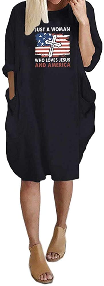 Rfecccy Women's Love Faith and America Long Sleeve Pocket Dresses Oversize Baggy Causal Tops