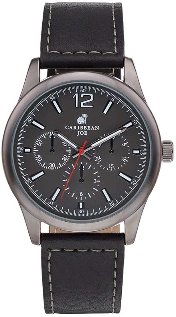 Caribbean Joe Men's Chronograph Watch W/Black Strap Watch Gunmetal Water Resistant 30 Meters