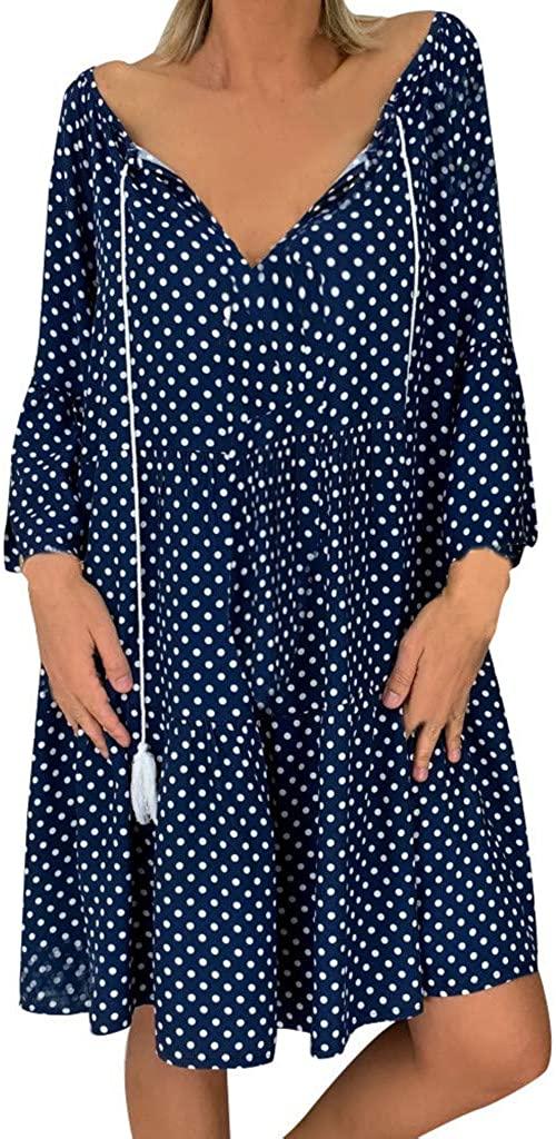 Polka Dot Dress for Women Ladies Loose Three Quarter Sleeve Mini Summer Dress