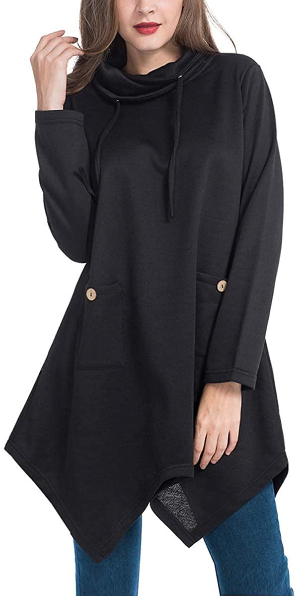 JTANIB Women's Long Sleeve Drawstring Cowl Neck Asymmetrical Hem Casual Tunic Tops with Pockets