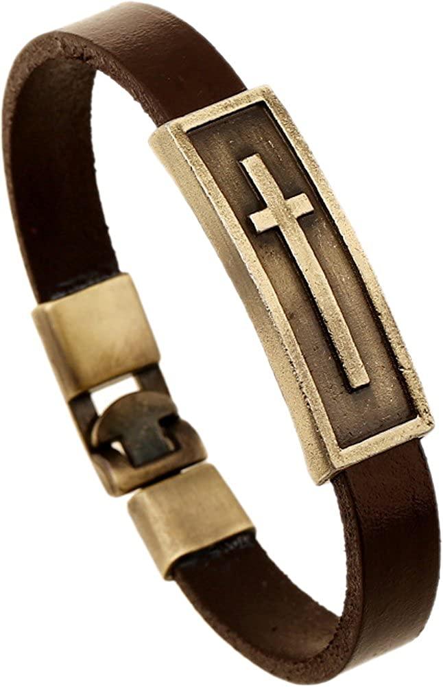 Hamoery Men Punk Alloy Leather Bracelet Cross Bracelet Bangle Wristband