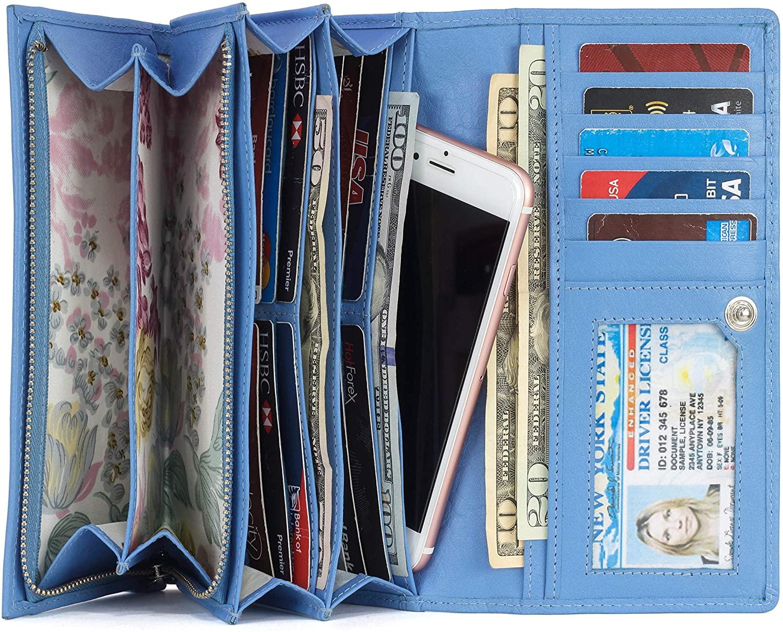 Mou Meraki Women RFID Blocking Genuine Leather Bifold Wallet-Clutch For Women-Shield Against Identity Theft
