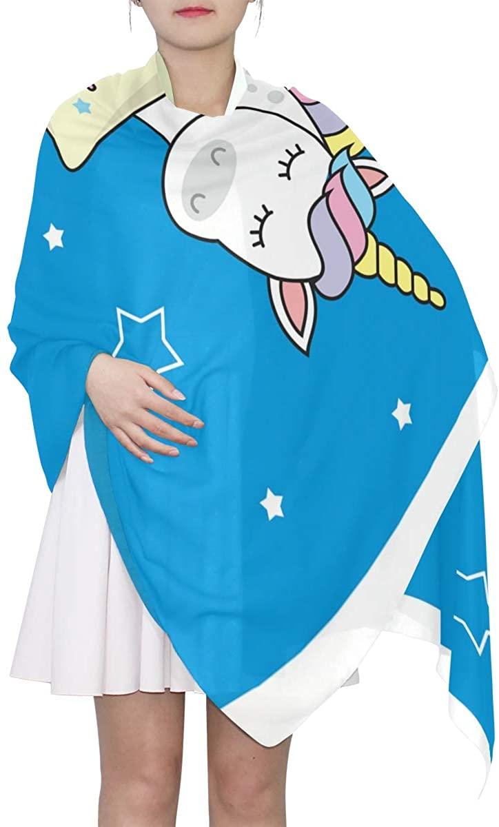 EELa Long Scarf Women Polyester Lightweight Unicorn Soft Fashion Printed Wrap Shawl Spring Winter 70x35in