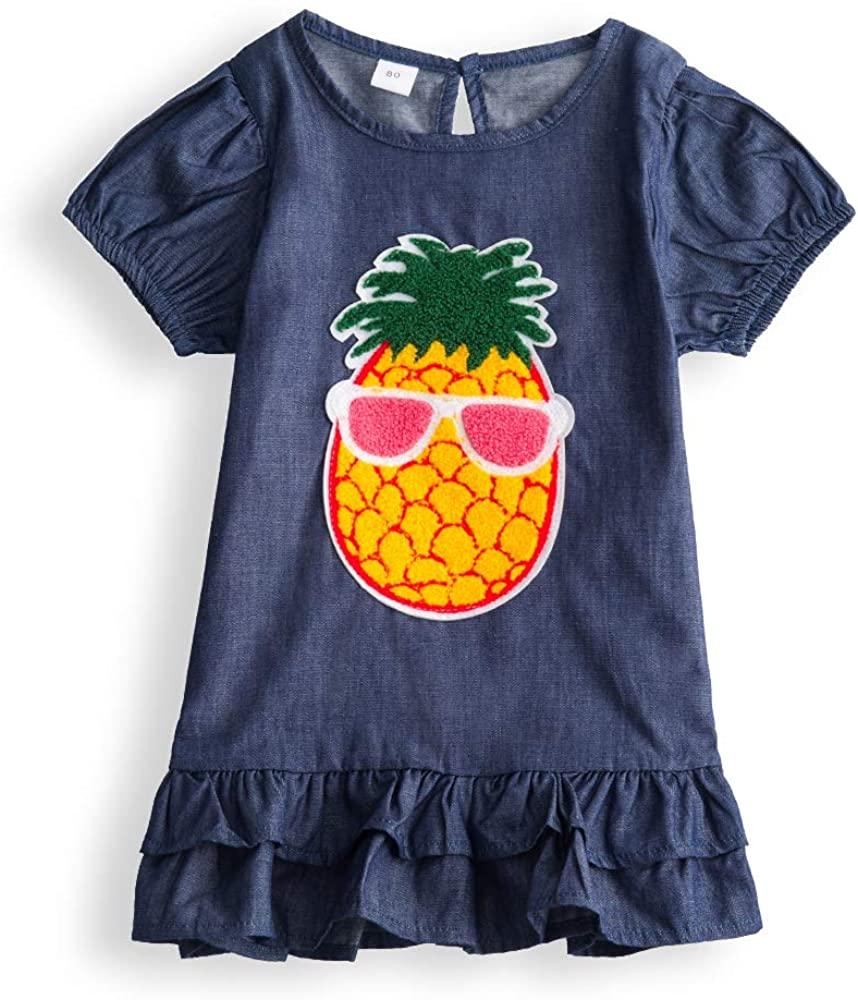 Children Girls Casual Dress Kids Summer Short-Sleeved Girl Clothes Pineapple Dress Pure Cotton Material