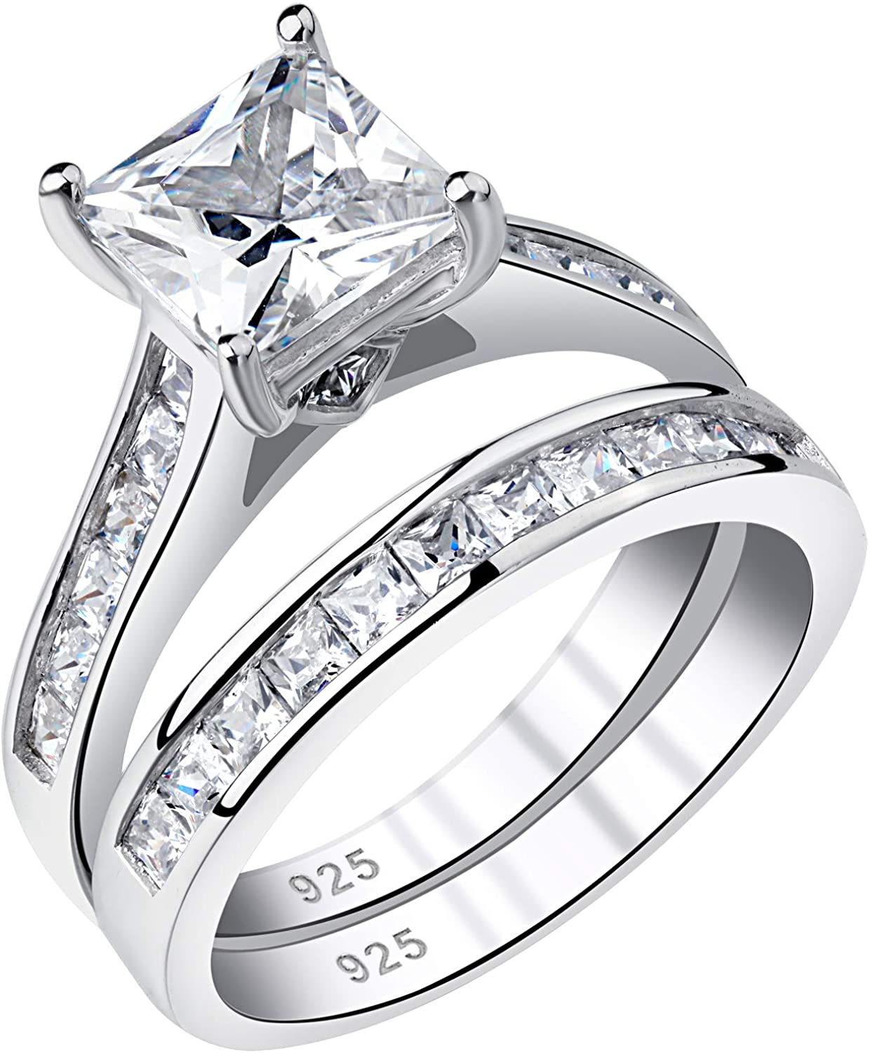 Newshe Wedding Rings for Women Engagement Ring Sets Princess 925 Sterling Silver Cz 1.8Ct Size 5-10