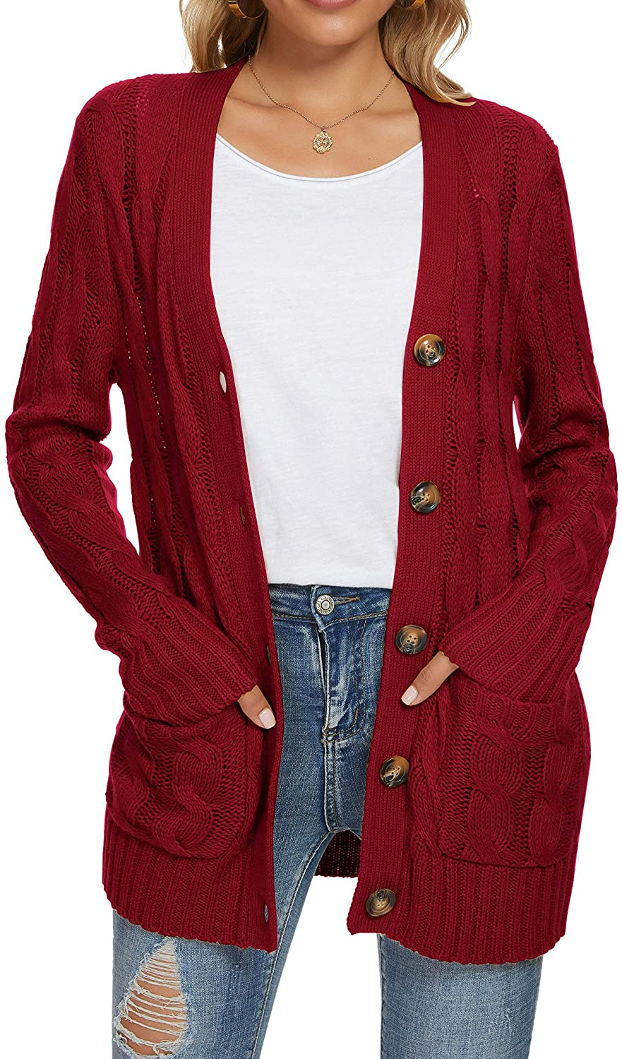 UEU Women's Long Sleeve Open Front Button Down Cable Knit Cardigan Sweater with Pockets