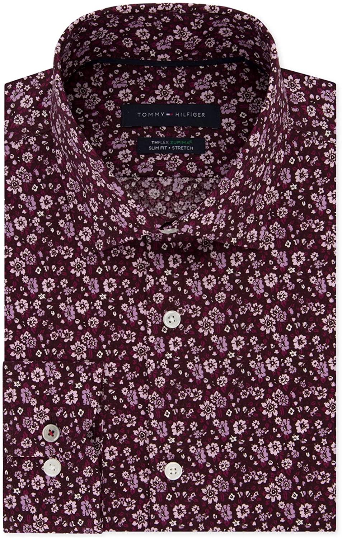 Tommy Hilfiger Mens Floral Button Up Dress Shirt Pink 16.5