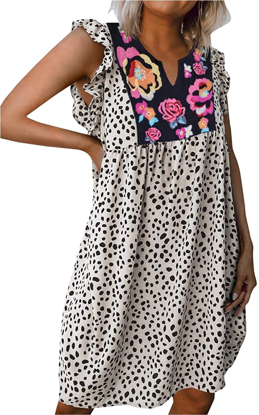 Women Spotted V Neck Mini Dress Floral Graphic Leopard Print Polka Dot Ruffle Swing Sundress Casual Beach Tank Dress