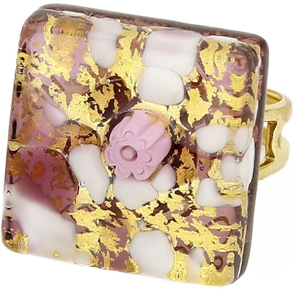 GlassOfVenice Murano Glass Venetian Reflections Square Adjustable Ring - Purple Gold