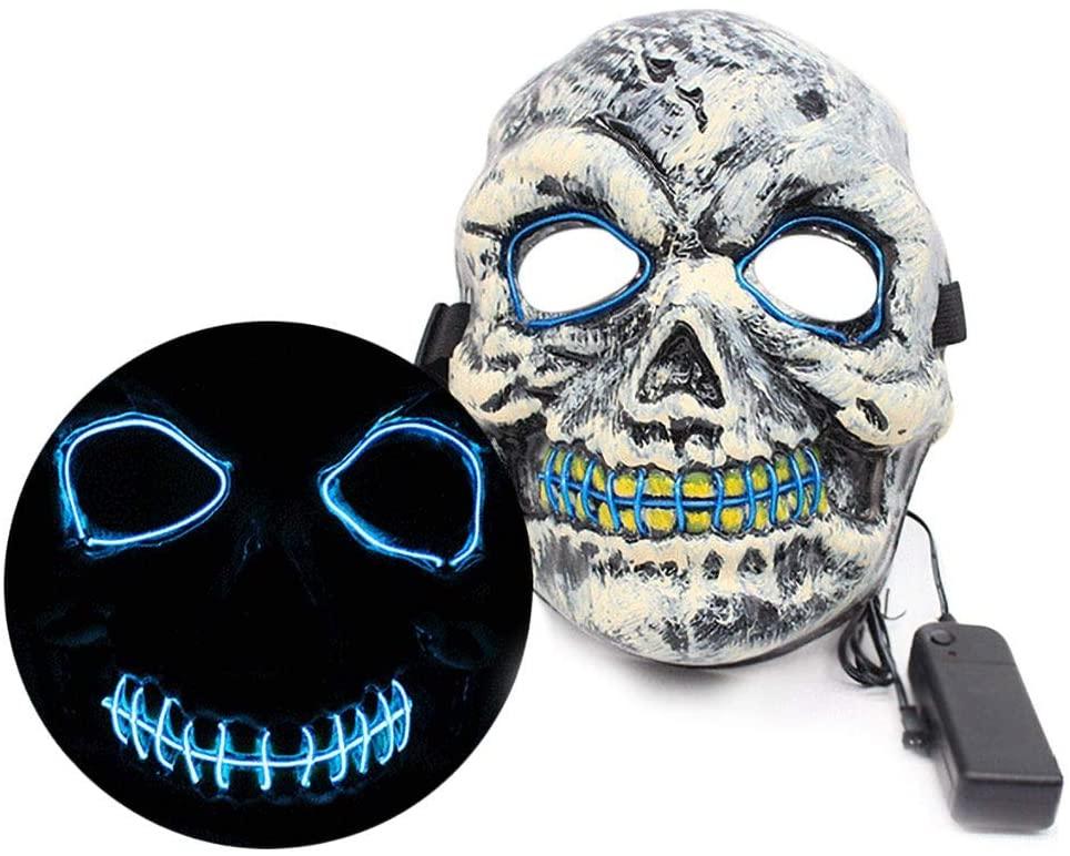 #NA Yehapp Led Mask Halloween Party Props Masque Masquerade Masks Fluorescent Flashing Toys LED Luminous Mask