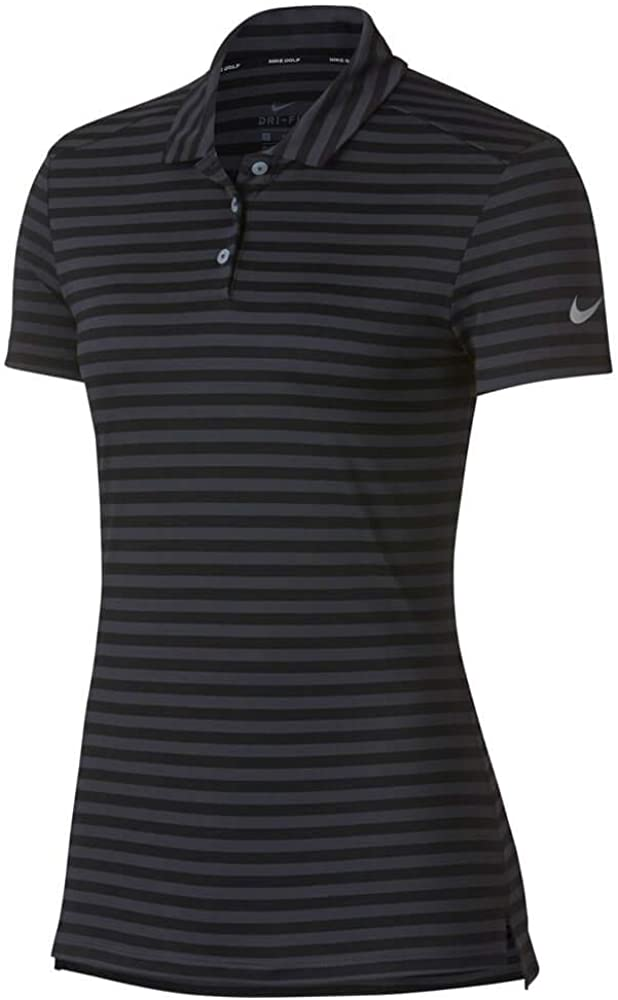 Nike Dri Fit Shortsleeves Stripe Golf Polo 2018 Women Black/Anthracite/Flat Silver Large