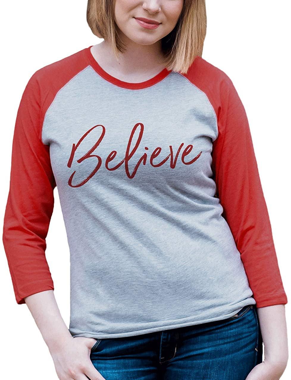 7 ate 9 Apparel Women's Believe Christmas Raglan Tee XL Red