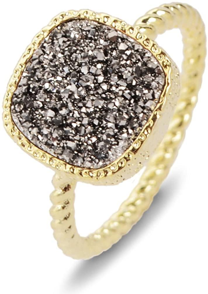 ZENGORI 12mm Gold Plated Square Natural Agate Titanium Druzy Fashion Jewelry Anniversary Ring